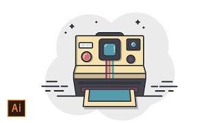 Illustrator Tutorial - Polaroid Camera Icon Flat Design (Illustrator Icon Tutorial)