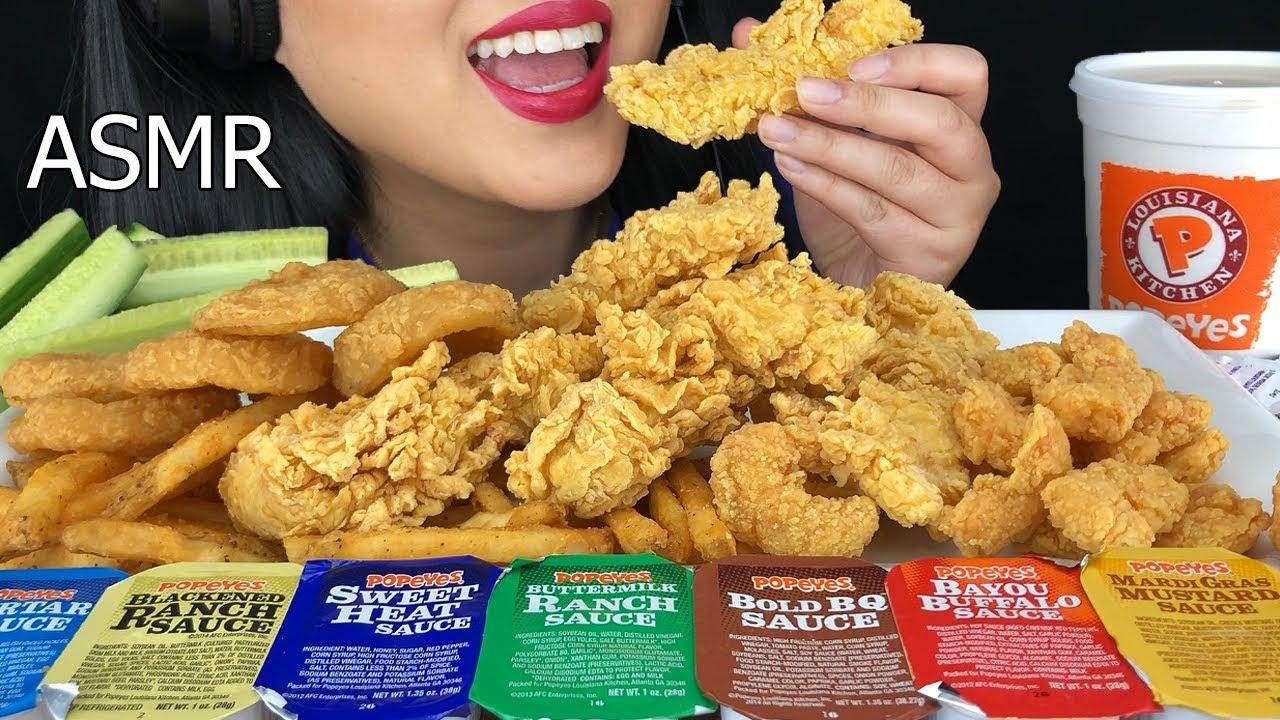 Asmr Popeyes Fried Chicken Fried Shrimp Onion Rings Crunchy Eating Sounds No Talking Asmr Phan