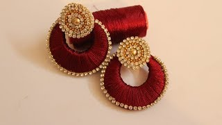 How To Make Beautiful Silk Thread Earrings At Home | DIY | Jewelry Making |