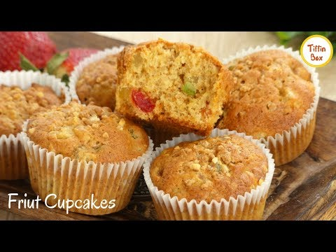 Fruit Cupcakes / Mixed dry Fruits Muffins for kids Tiffin Box | Tutti Fruity Christmas Plum cake