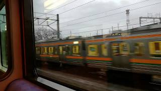 【JR東日本】宇都宮線から両毛線に直通する瞬間(485系リゾートやまどり車内にて) 小山駅発車直後