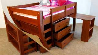 Twin Solid Wood Low Loft Bed With Desk, Chest And Bookcase In Pecan Color.wmv