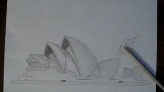 Уроки рисования.Учимся рисовать оперный театр Сидней.How to  Draw Sindey opera house.