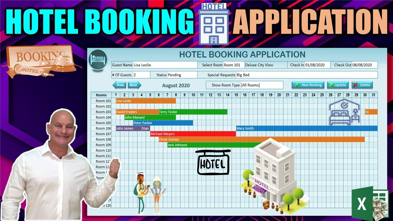 Create This Hotel Booking Application With Drag & Drop Gantt Chart in Excel Today [Free Download]
