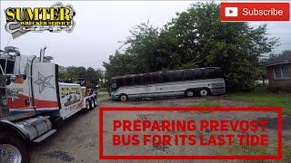 Preparing Prevost Bus for its last ride