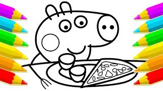 Learn DRAWING & Paint For Kids with this Coloring. Pizza Coloring Book Drawing For Children.