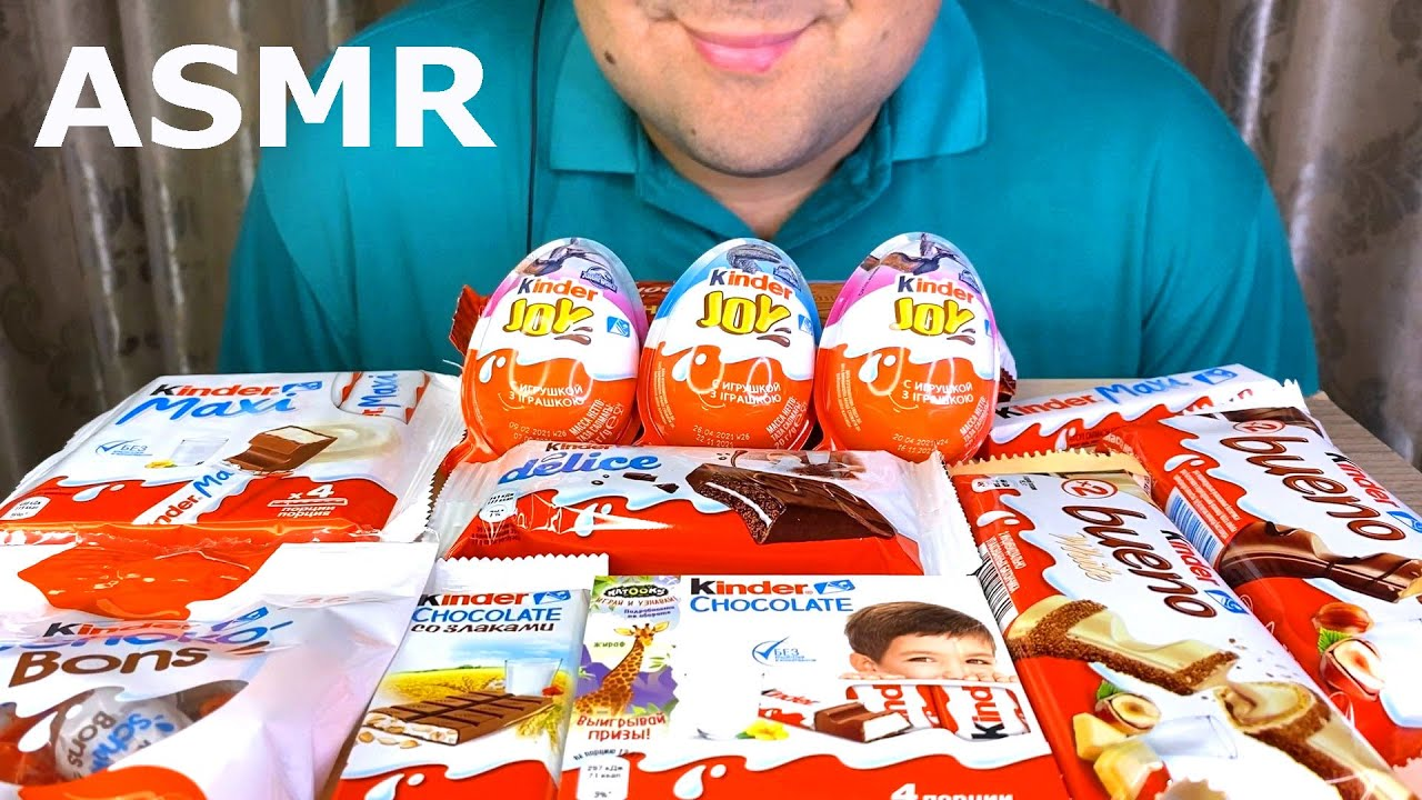 ASMR Yummy Kinder Joy Chocolate | Kinder Chocolate Party Mukbang 먹방(Eating Sounds)