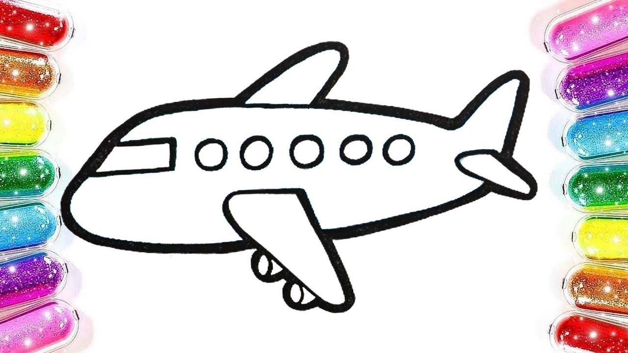 Uçak Boyama çocuklar Için Boyama Renkleri öğreniyorum Sihirli