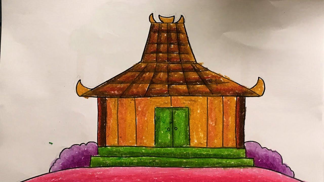 Menggambar & Mewarnai Rumah Joglo Yogyakarta Untuk Anak
