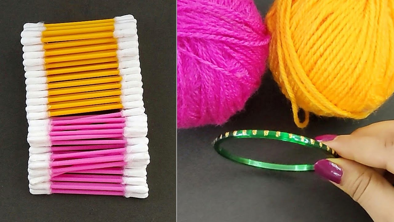 DIY Home Decor Idea using Old Bangles and Cotton Earbuds - Diwali decor idea - Best out of waste