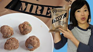 PEANUT BUTTER CANNON BALLS & Stew Soup - cooking with MRE ingredients