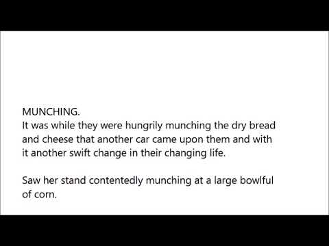 MUNCHING word in sentence with pronunciation