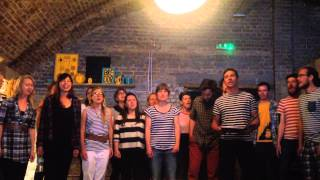 The trad academy sea shanty choir perform at Trip Space, Hackney, London