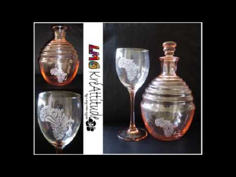 Peinture et gravure sur verre carafes lmg kreattitude - Peindre sur verre 100 modeles originaux ...