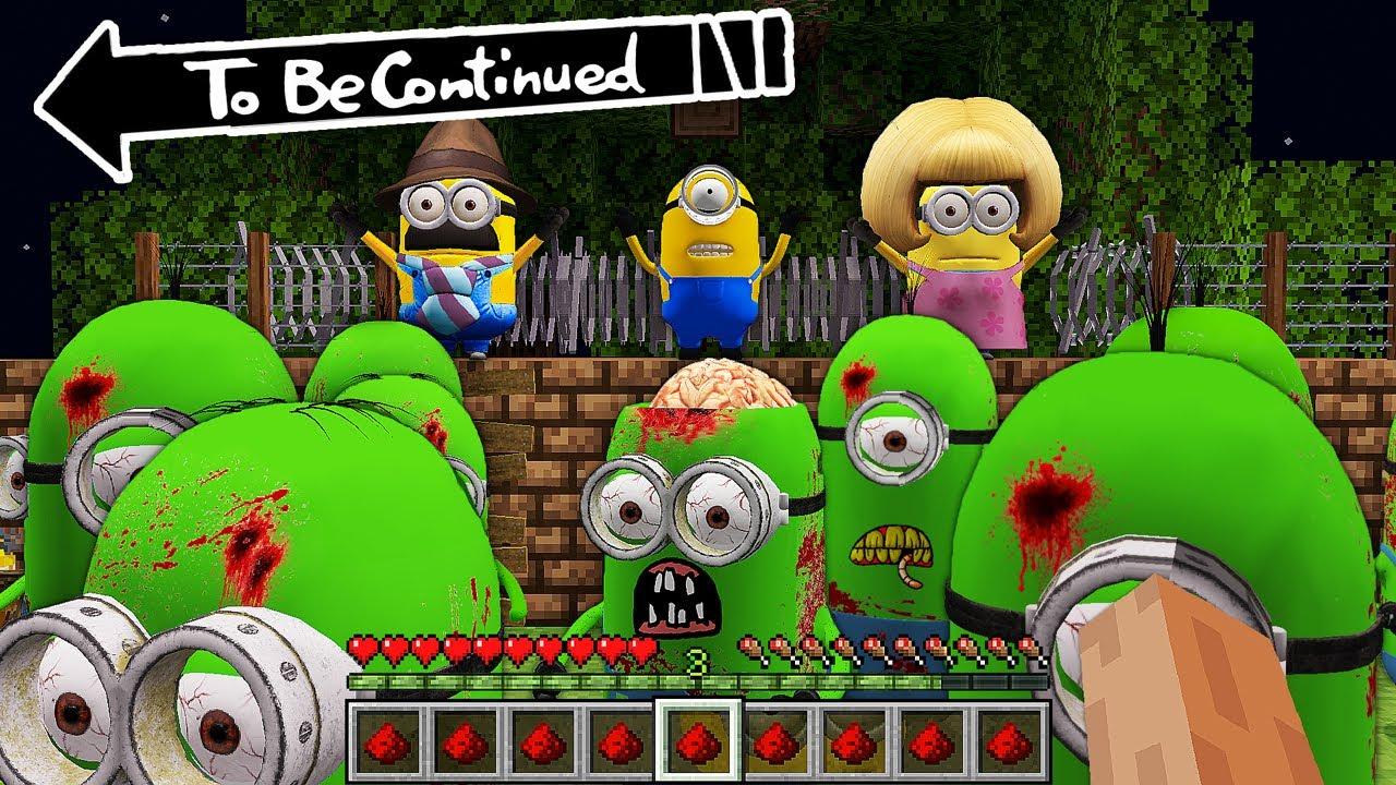 ZOMBIE MINION vs MY FAMILY MINIONS in minecraft ! Scary Minion vs Minions - Gameplay