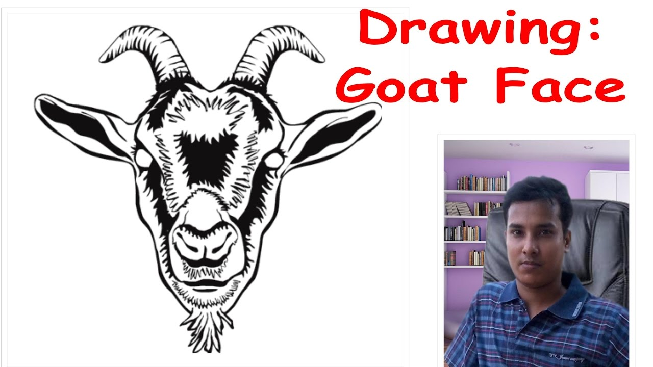 How to draw a goat face - YouTube Goat Face Side Drawing