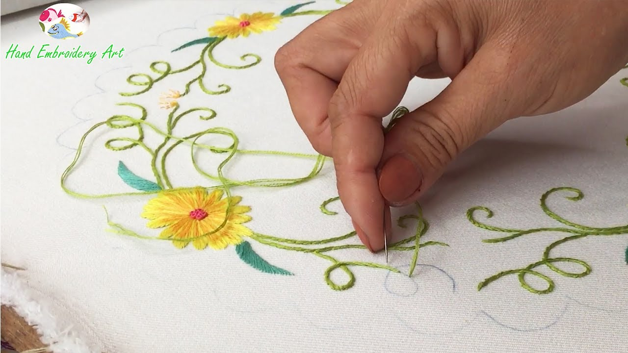 Hand Embroidery Art: Flower Embroidery on Tablecloth
