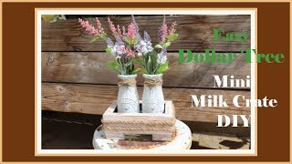 Mini Dollar Tree DIY Farmhouse Milk Bottle Crate