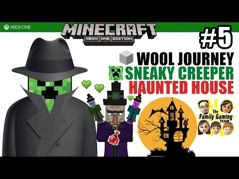 Dad & Sons plays MINECRAFT XBOX ONE: Wool Journey / Sneaky Creeper / Haunted House (#5)