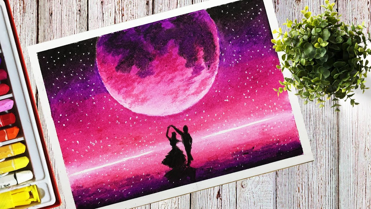 How To Draw A Beautiful Purple Moonlight Scenery With Oil Pastel