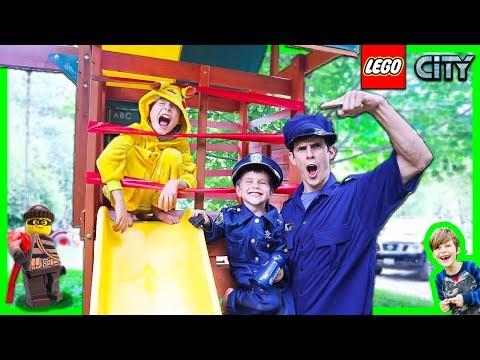 Lego Police Pretend Play Cops & Robbers Skit - Pikachu Jail Break!