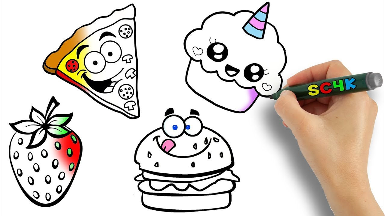 How To Draw And Color Fast Food Dessert For Kids To Learn Step By Step Colors With Easy Art Ideas