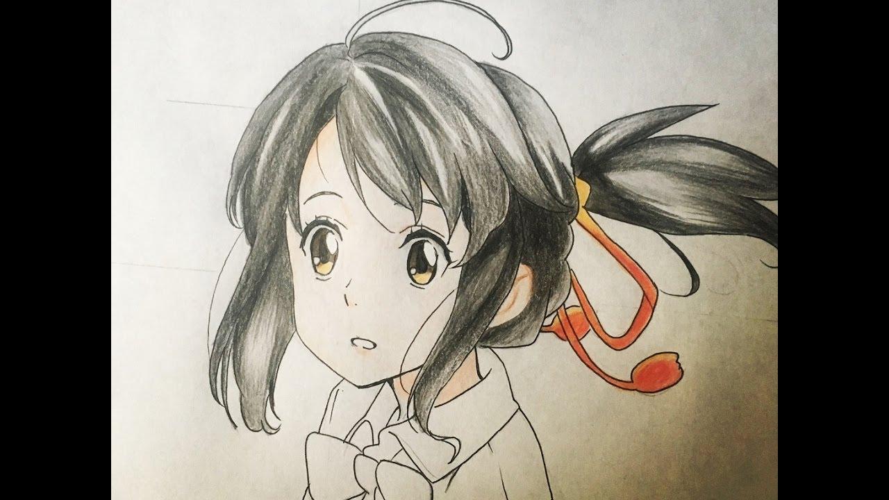 how to draw mitsuha miyamizu kimi no nawa youtube