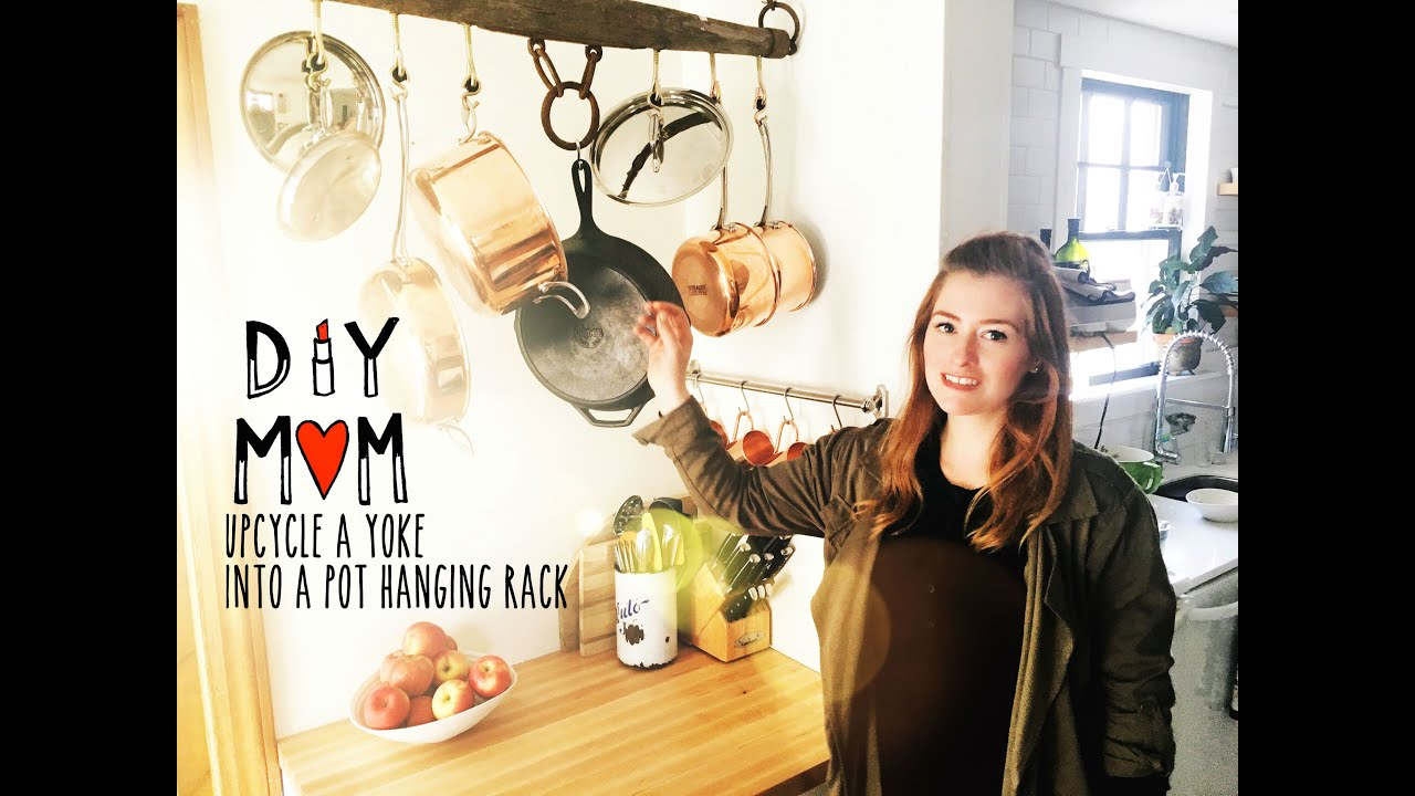 diy mom how to make a pot hanging rack on a budget for your kitchen