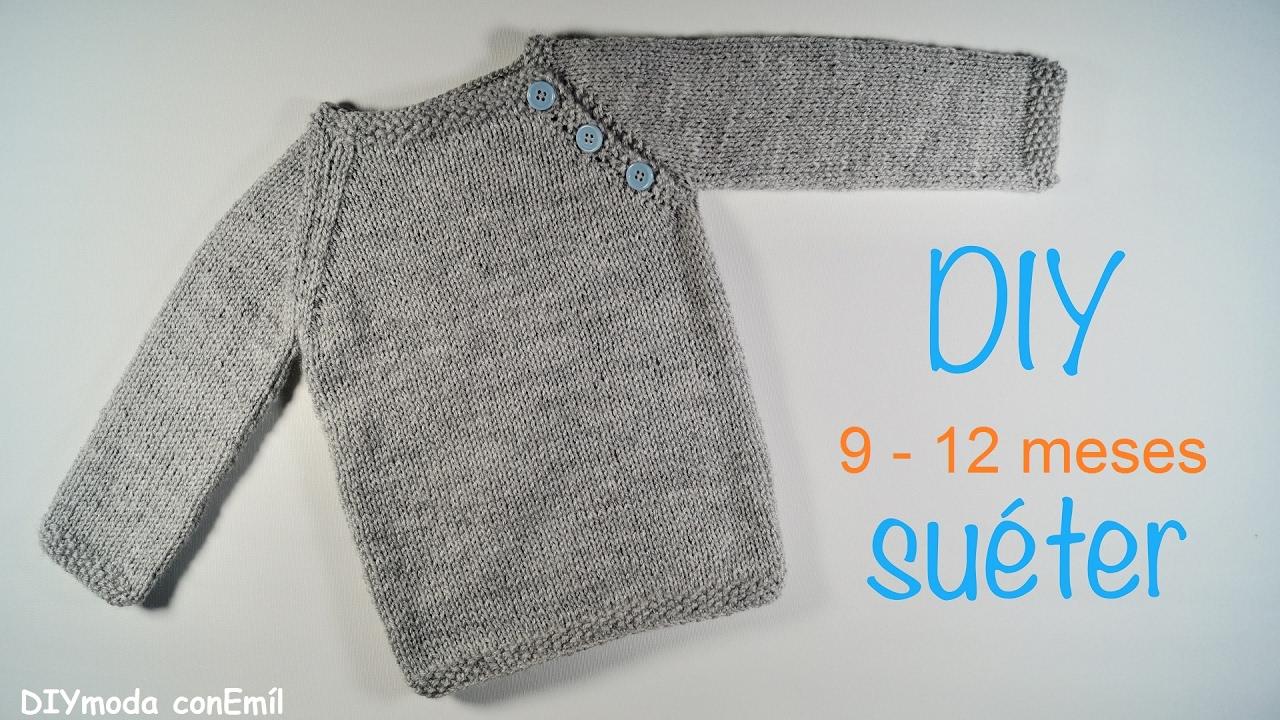 Suéter o Jersey de bebé tejido a dos agujas paso a paso - YouTube 87bb0351b42c