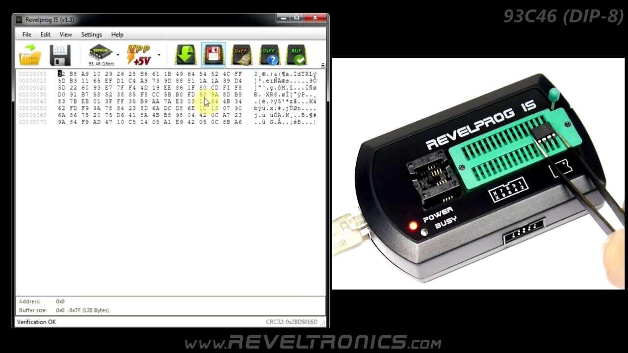 93c46 EEPROM programming with REVELPROG-IS usb