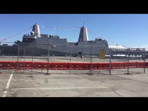There is a Navy ship at my spot..Pier 40...The Kaboom dock...Must be 2016 Fleet Week