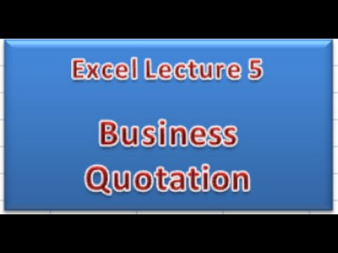 Business Quotation In Ms.Excel - Youtube