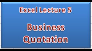 Business Quotation In Ms.excel