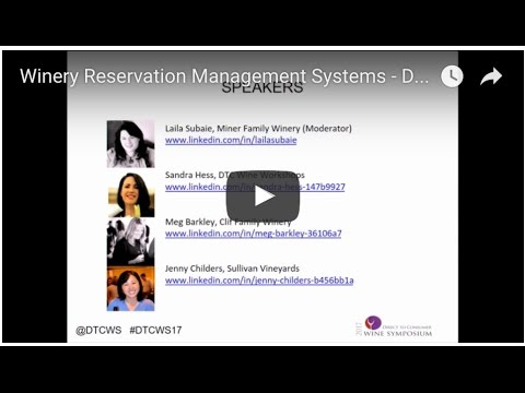 Winery Reservation Management Systems - DTC Wine Symposium January 2017