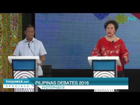 Pilipinas Debates 2016: Binay vs Santiago on VP's wealth