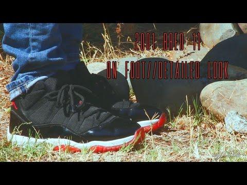 """2001-air-jordan-11-""""bred""""-detailed-look-+-on-foot"""