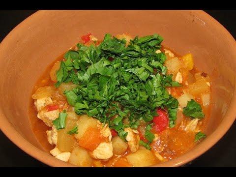 Рагу овощное с куриным филе в мультиварке