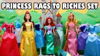 Disney Princess Rags to Riches Complete Doll Set Ariel Belle Aurora. DisneyToysFan.
