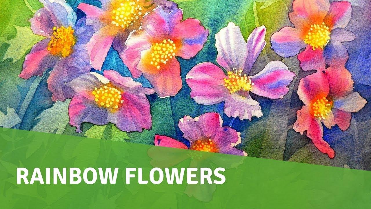 Watercolor painting tutorial negative painting flowers for Video tutorial on watercolor painting