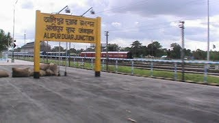 Arriving at Alipur Duar Junction with BWN WDM-3A  in lead: Kanchan Kanya Express on-board