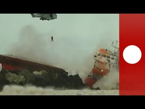 Rescue drama and pollution fears as cargo ship slams into sea dyke in France