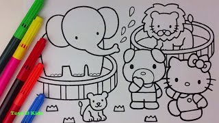 COLORING Page Hallo Kitty Zoo | Coloring Book Paw Patrol | Coloring Video For Kids.  キティ・ホワイト