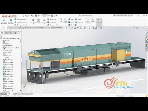 Solidworks Train Modelling Tutorials - S01 E04: EMD Locomotive Body Part 4 [English]