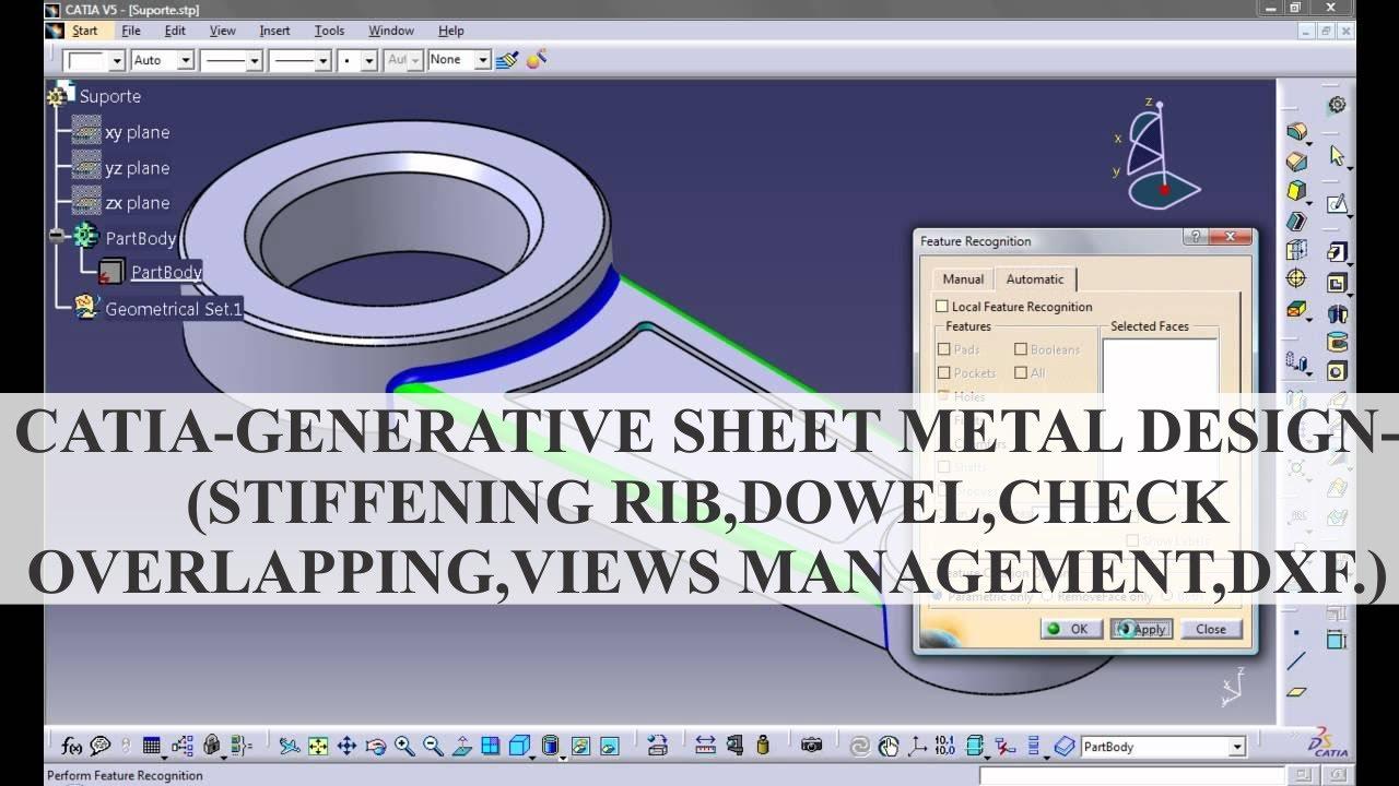 Catia Generative Sheet Metal Design Stiffening Rib Dowel Check Overlapping Youtube