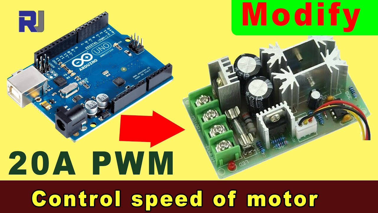Use 20A DC 10-60V PWM Motor Speed Controller with Arduino