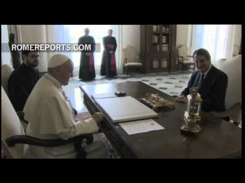 Pope meets with president of Cyprus, Nicos Anastasiades