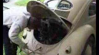 manual starting up engine of old vw beetle