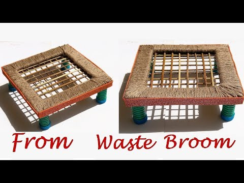 Cute organizing desk from waste material   Best reuse idea of waste broom and jute