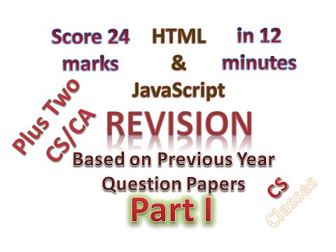 HTML And JavaScript Revision