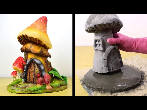 DIY Cement Mushroom Fairy House | Cement Project You Can Make at Home | Concrete Fairy Garden